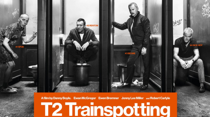 Poster of T2 Trainspotting with all the actors in toilets on it