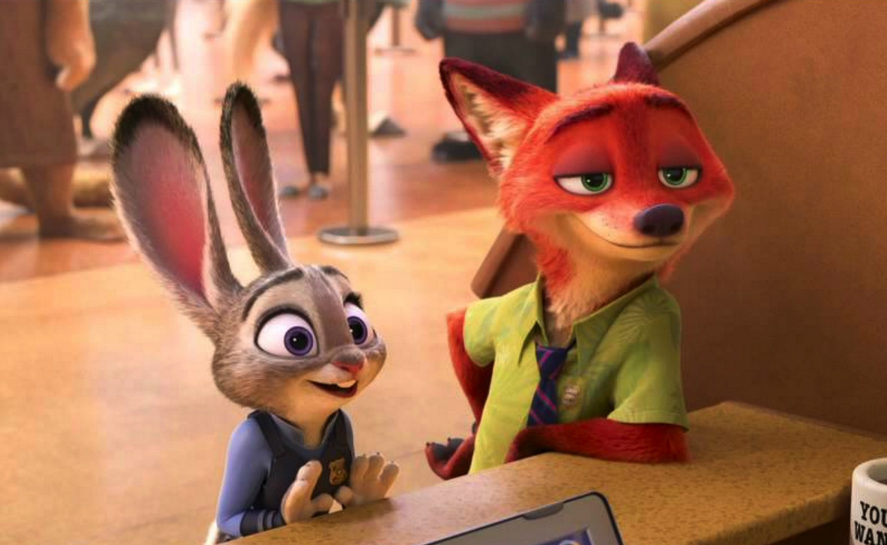 Image from the Disney movie Zootopia with Judy and Nik